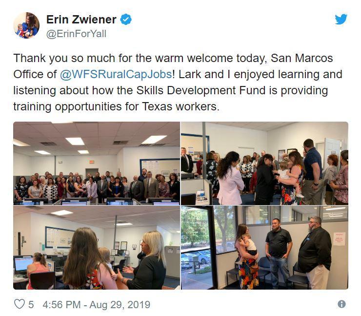 Rep. Erin Zwiener Tweet