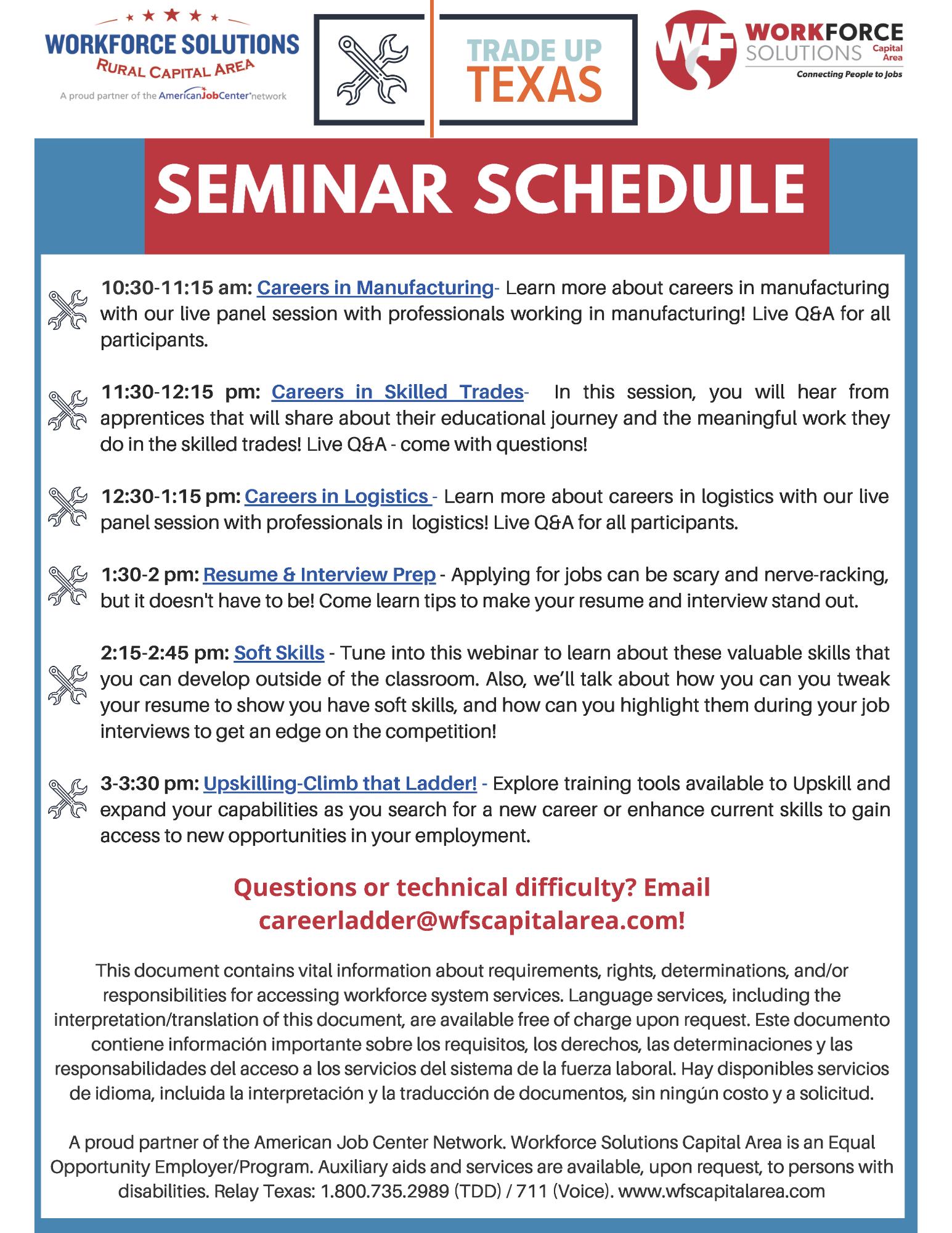 Trade Up Texas Seminar Schedule