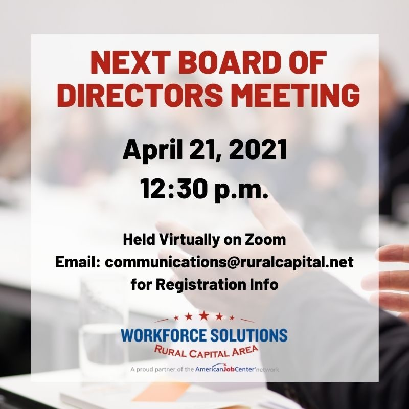 WSRCA Board of Directors Next Meeting on April 21, 2021
