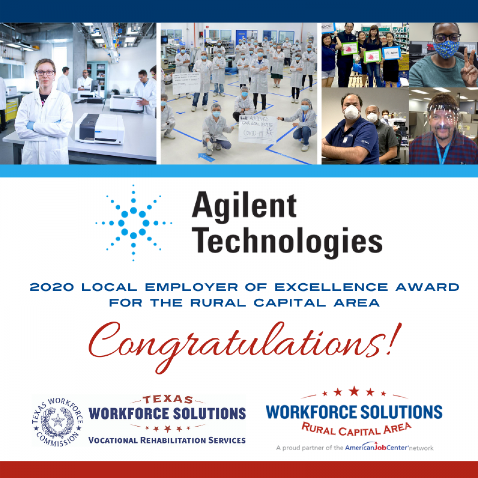 Agilent Technologies Recognized with the 2020 Employer of Excellence Award for the Rural Capital Area