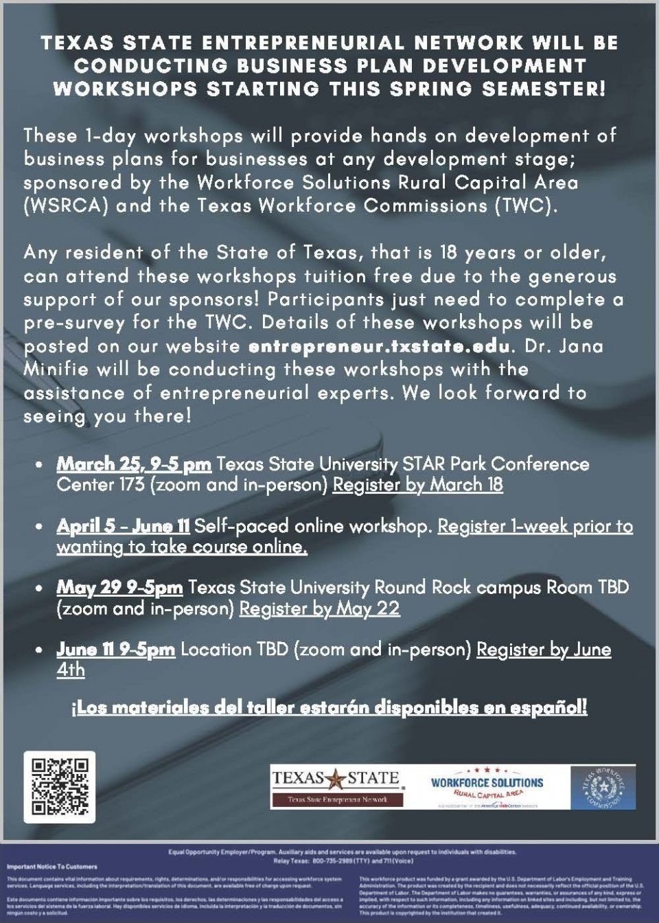 Be a Startup Entrepreneur: Register for Free Business Plan Development Workshops