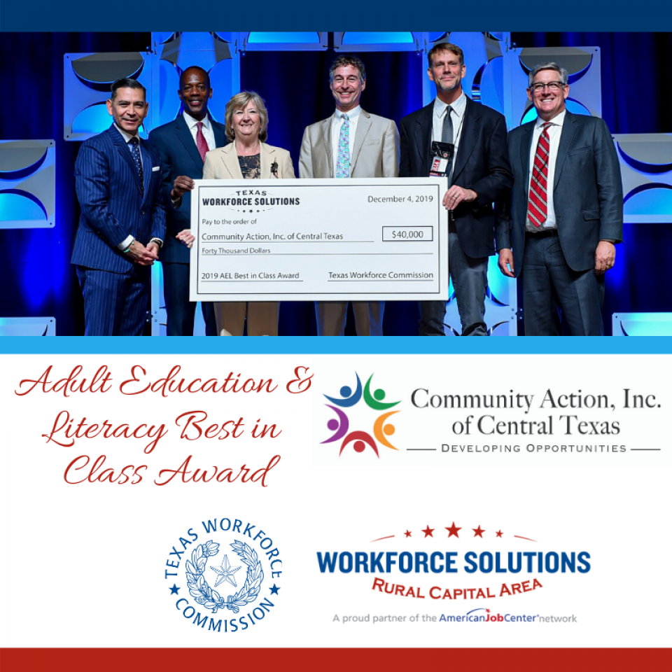 WSRCA Partner, Community Action, Inc., Recognized with Adult Education & Literacy Best in Class Award at TWC Annual Conference