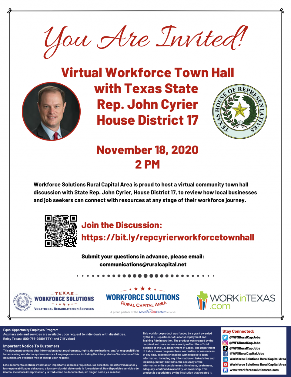 Join the Discussion: Virtual Workforce Town Hall with State Rep. John Cyrier, House District 17