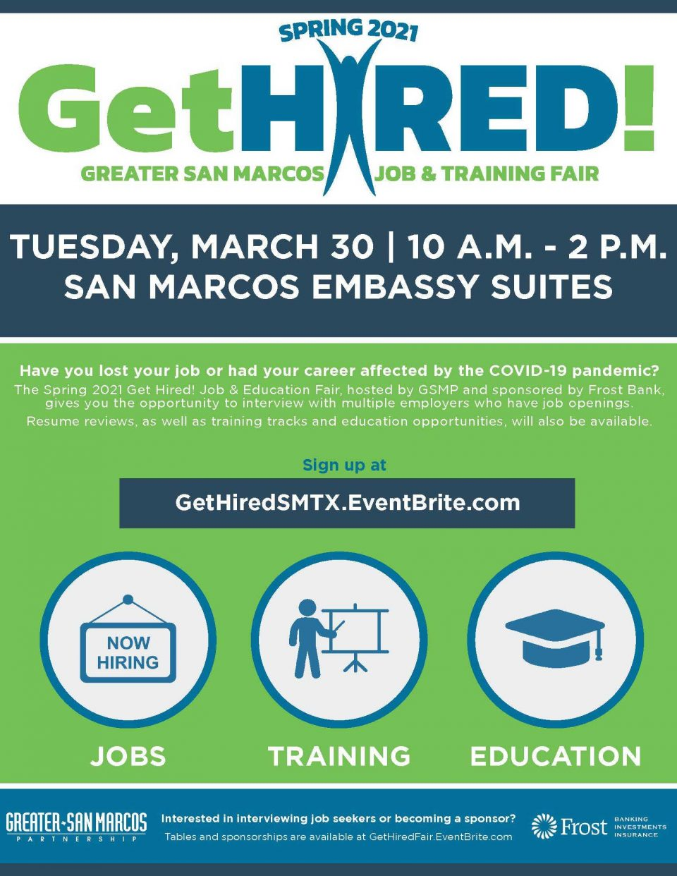 Greater San Marcos Partnership Hosting Spring 2021 Get Hired! Job & Education Fair on March 30