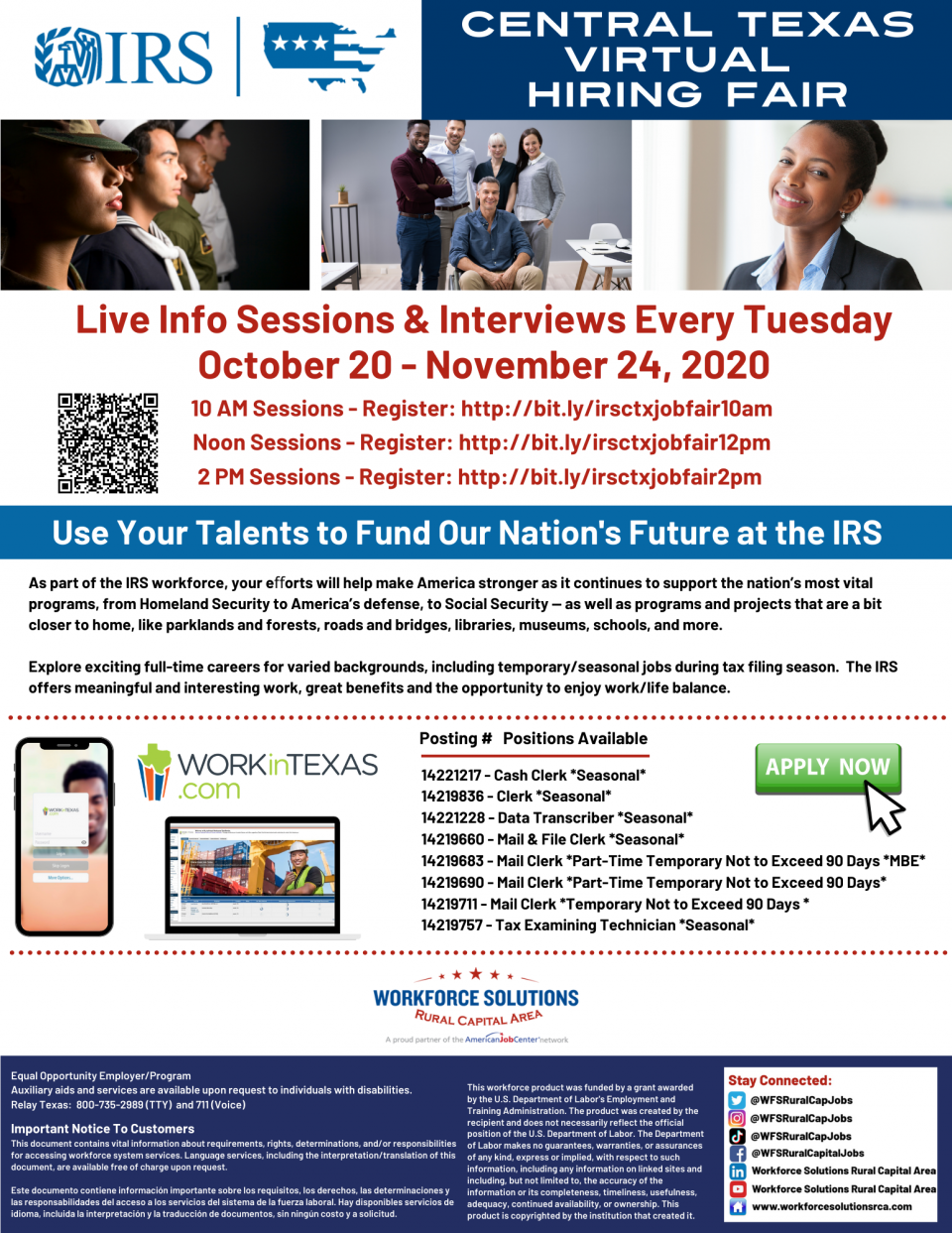The IRS is Hiring in Central Texas! Virtual Career Fairs Offered Every Tuesday Through November