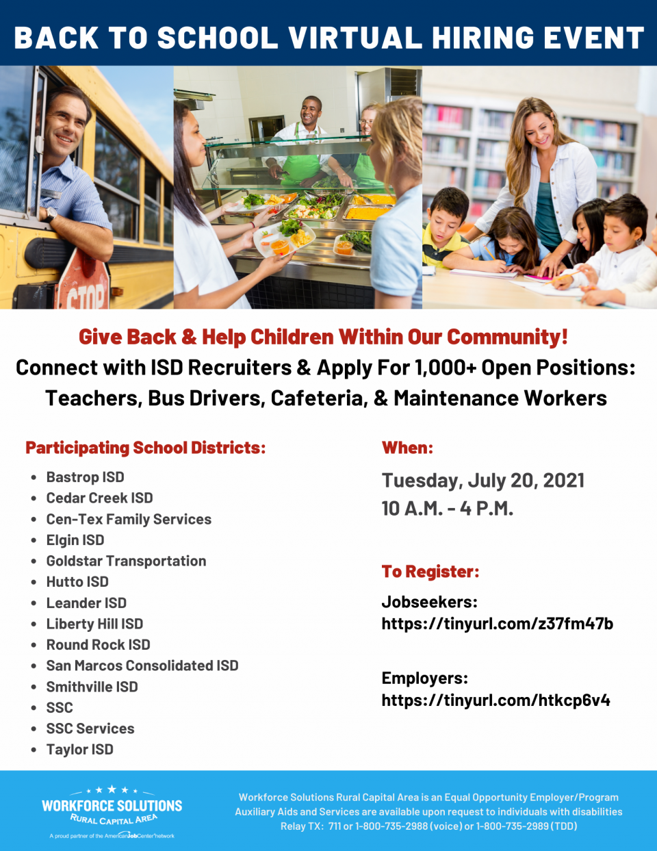 Support Your Community, Help Children, & Build a Career: Don't Miss the Back to School Virtual Hiring Event on Tuesday