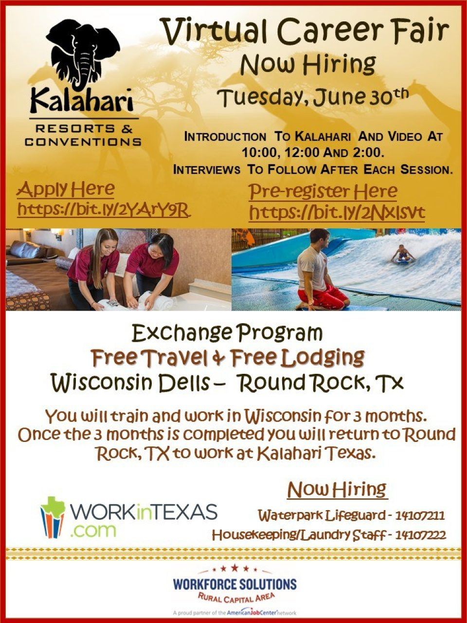Don't Miss the Kalahari Resorts Virtual Career Fair on June 30 to Explore Paid Internship Exchange Opportunities
