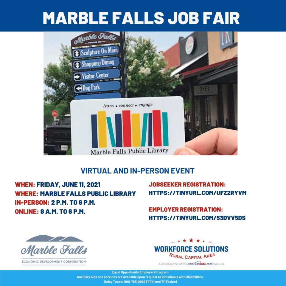 Don't Miss the Marble Falls Community Hiring Event on June 11
