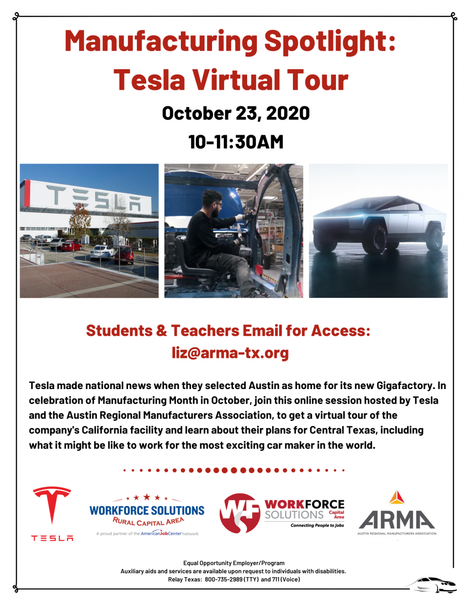 Central Texas Students & Teachers, Help Celebrate Manufacturing: Don't Miss the Tesla Virtual Tour on October 23 at 10AM
