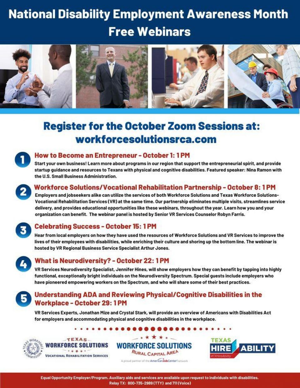 Help Increase Access and Opportunity! Register to Participate in Free National Disability Employment Awareness Month Webinars