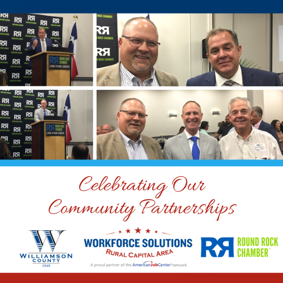 WSRCA CEO Paul Fletcher with Williamson County Commissioner Russ Boles, New Round Rock Chamber President and CEO Jason Ball