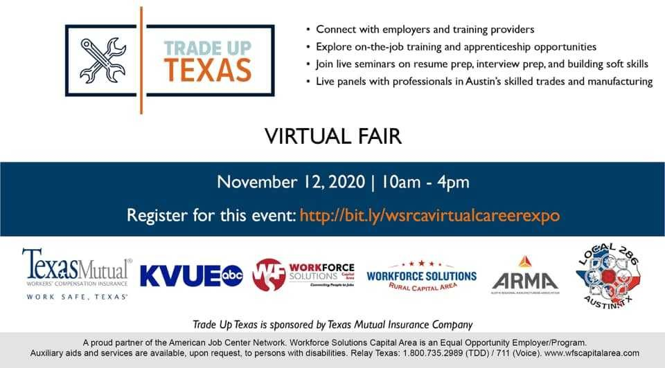 Trade Up Texas Virtual Fair to Help Students, Job Seekers Explore Skilled-Trade Careers with Central Texas Employers on Nov. 12