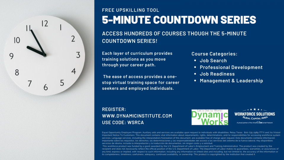 WSRCA Expands Upskilling Opportunities; Offers Texans Free Access to 5-Minute Countdown Series