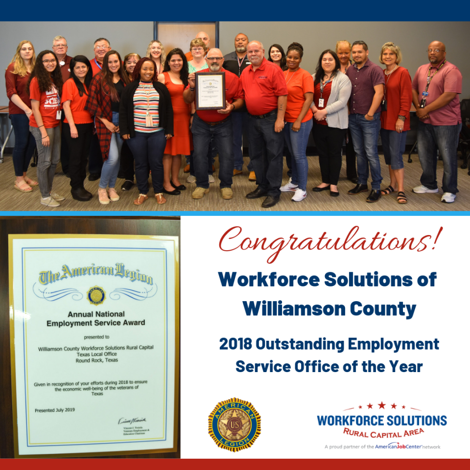 Team at Workforce Solutions of Williamson County Recognized for Outstanding Employment Services for Veterans