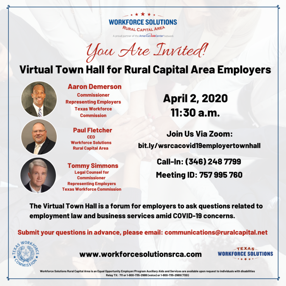 Join Us on Zoom for Virtual Town Hall for Rural Capital Area Employers