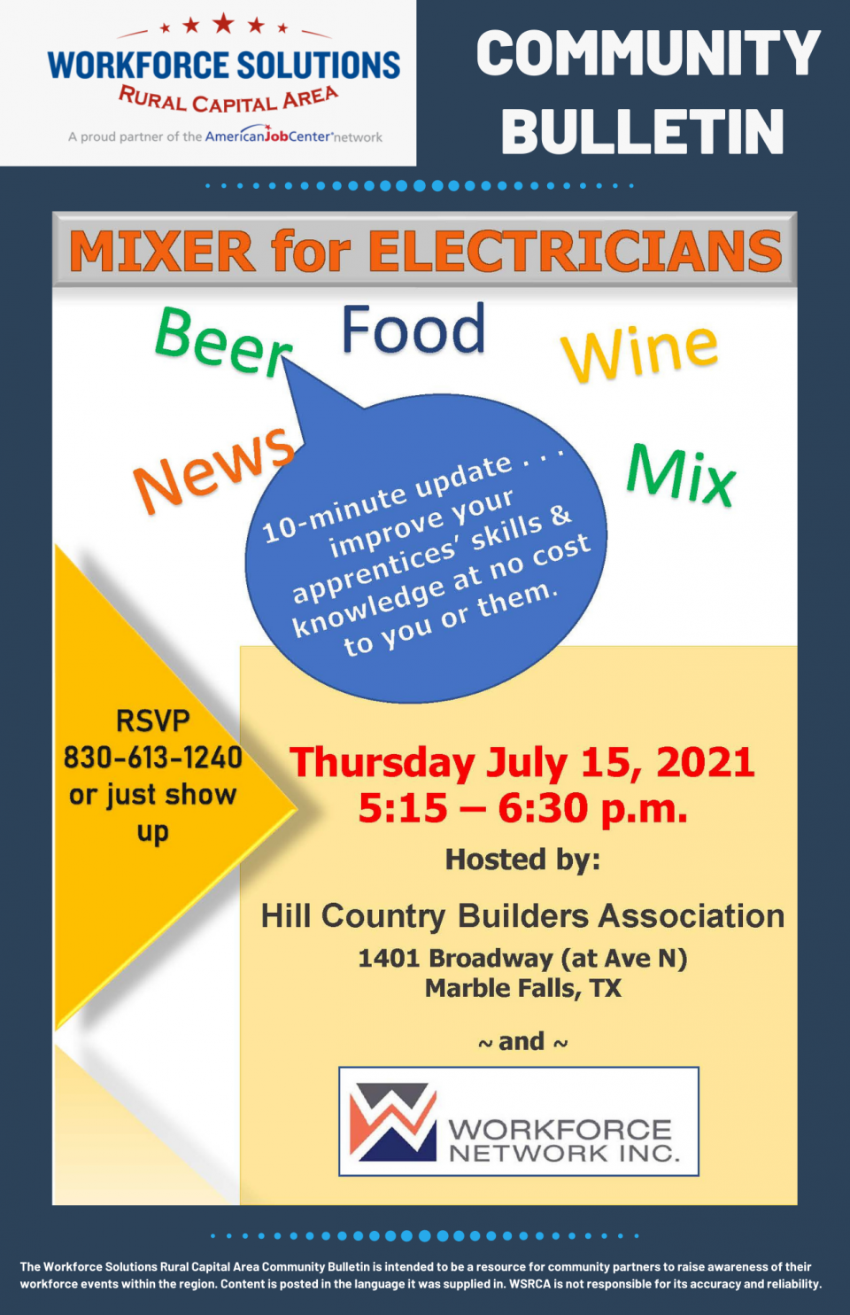 Electrical Apprentice Program Coming to the Highland Lakes: Attend the Mixer for Electricians on July 15 to Learn More About Building a Workforce Pipeline for your Business through Apprenticeship