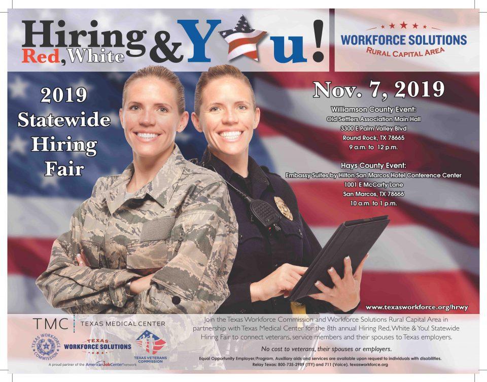WSRCA, TWC, TVC to Host 8th Annual Hiring Red, White & You! Veterans Hiring Fair on November 7th
