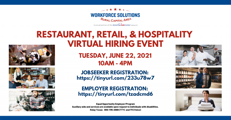Central Texas Employers Hiring Immediately: Don't Miss the Restaurant, Retail, & Hospitality Virtual Hiring Event on June 22