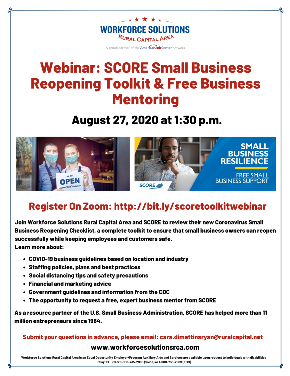 Take Part in a Webinar to Review the SCORE Small Business Reopening Toolkit, Free Business Mentoring