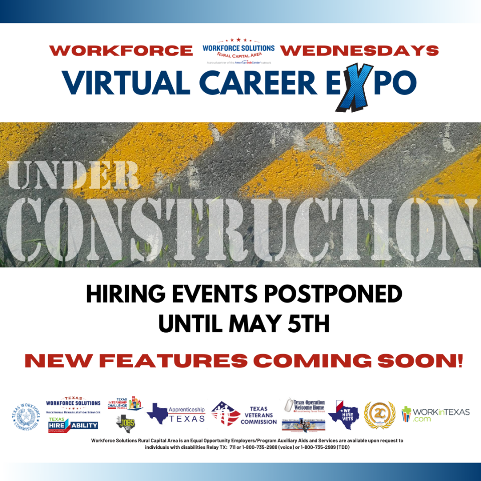 Workforce Wednesdays Virtual Career Expo Events Postponed; New Features Coming Soon